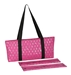 Mah Jongg Full Set Fuchsia (Pink) & Silver MJ Designer Logo Soft Case with 166 White Tiles and Four Color Pusher Racks - 132729