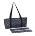 Mah Jongg Full Set Navy Blue & Silver MJ Designer Logo Soft Case with 166 White Tiles and Four Color Pusher Racks - 132743
