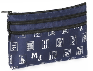 Mah Jongg Navy Blue and Silver 3 Zipper Mah Jong Purse for Mahjong Card Mah Jongg Card, Mah Jong Card, Mah Jong Scorecard, Mah Jongg Scorecard, Mah Jong Purse, MJ Purse, Mah Jong Scorecard Purse, Mah Jong Case, MJ Bag, Mah Jongg Accessories, Mah Jong Gift, mahjongg, Designer Mah Jong, Mah Jong Soft Bag, mahjong