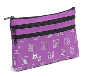 Mah Jongg Purple Logo 3 Zipper Mah Jong Purse for Mahjong Card Mah Jongg Card, Mah Jong Card, Mah Jong Scorecard, Mah Jongg Scorecard, Mah Jong Purse, MJ Purse, Mah Jong Scorecard Purse, Mah Jong Case, MJ Bag, Mah Jongg Accessories, Mah Jong Gift, mahjongg, Designer Mah Jong, Mah Jong Soft Bag, mahjong