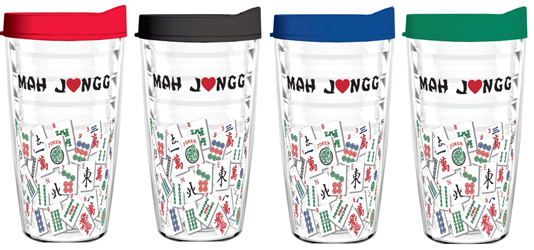 Tumbler 16 oz (Double Wall Insulated)- Mah Jongg Tile Design (4-Pack Asst Colors) mah jongg card 2017 2018 tervis tumbler 16oz tile mahjong mah jongg asian oriental mah jongg gift cup mug plastic tritan usa