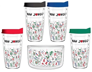 Tumbler 16 oz (Double Wall Insulated)- Mah Jongg Tile Design (4-Pack Asst Colors and Bowl)  mah jongg card 2017 2018 tervis tumbler 16oz tile mahjong mah jongg asian oriental mah jongg gift cup mug plastic tritan usa