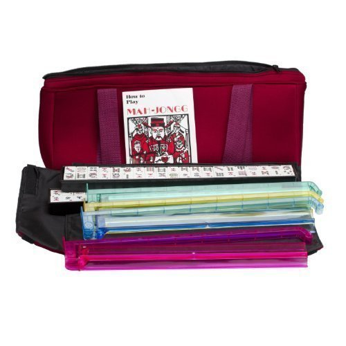 Western Mah Jongg Set Soft Burgundy Bag Case & 4 Color Rack - Pusher Combo